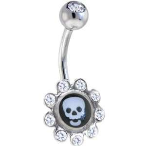 Crystalline Gem Skull Logo Flower Belly Ring Jewelry