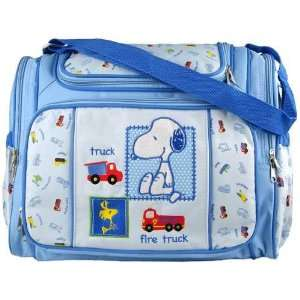Blue Snoopy Large Baby Diaper Bag with Changing Pad + Plastic Wipes