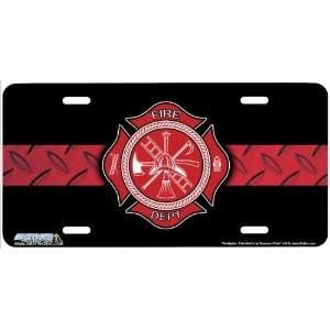 Firefighter Thin Red Line Diamond Plate Firemen Art License Plate Car