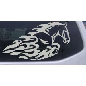 Silver 24in X 13.7in    Flaming Mustang Horse Animals Car Window Wall