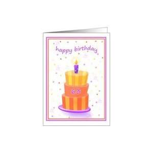 63 Years Old Happy Birthday Stacked Cake Lit Candle Card
