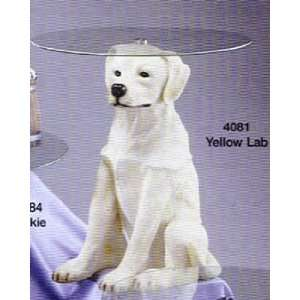 Yellow Lab Labrador Retriever Dogs End Table With Glass