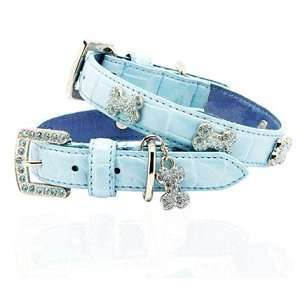 Leather Dog Collar   Soft Sapphire Blue, S (11 15)