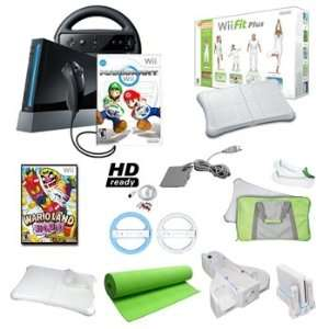 Wii Black Mario Kart Holiday Bundle with Wii Fit Plus, Yoga Mat, Games