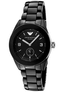 Emporio Armani Watch AR1422 Mens Black Textured Dial Black Ceramic