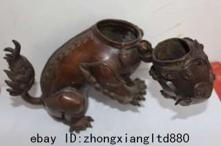 Lovely Chinese Purple Bronze Foo Fu Dog & Lion Statue Censer Incense