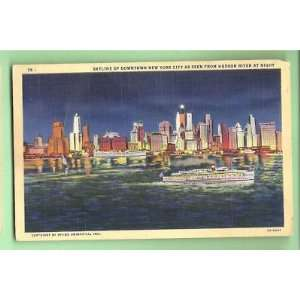 Postcard New York City Skyline Downtown Hudson River