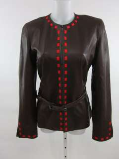 NWT CAROLINA HERRERA Brown Leather Red Jacket 10 $3290