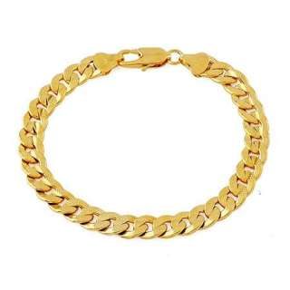 Gorgeous 18K Yellow Gold Filled Mens bracelets 8.5 Chain