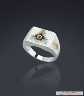 BLUE LODGE MASONIC RING SILVER RING 24K GOLD PLATED