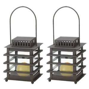 Oriental Asian Iron Hanging Lanterns Candle Holders