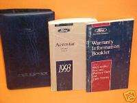 1993 FORD AEROSTAR VAN OWNERS MANUAL PORTFOLIO KIT 93