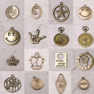 Vintage Lot Antique Brass Bronze Symbol Jewelry Findings Charms