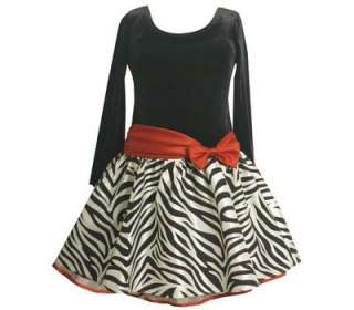 Toddler Girls Black / White Zebra Velvet Holiday Party Dress 2T