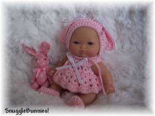 PINK BUNNY DRESS FITS 5 BERENGUER BABY REBORN OOAK