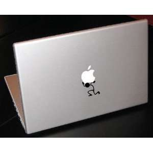 Stick Figure Holding Up Apple 15 inch Macbook Art Vinyl Decal