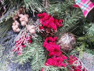 Gold Balls Red Berries Pine Cones Tartan Plaid Bow Fall Christmas