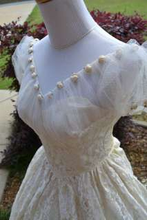 Vintage Ethereal tulle cap sleeve dream antique Wedding gown dress XS