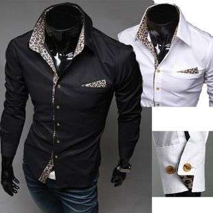2012 NEW Mens Korean Sexy Leopard Slim Shirt Simple Casual Style