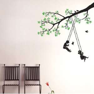 Modern House Kids Tree Swing removable Vinyl Mural Art Wall Sticker