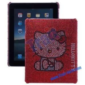 Cute Kitty Cat Hard Rhinestone Case for Ipad red