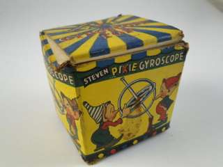 Steven Pixie Gyroscope Top Toy w/Box Elf Magic 1955 Old Retro