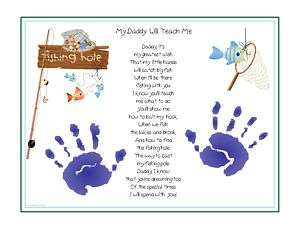DADDY Teach Me~FISHING Poem Child Handprint FATHERS DAY