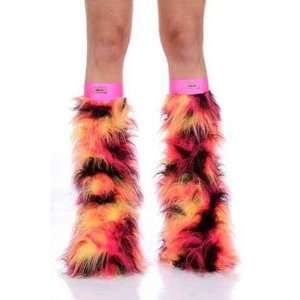 Camo Volcano Black Pink Yellow Faux Fur Fuzzy Furry Legwarmers Boot
