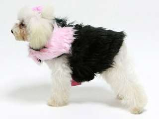 Pet Dog Clothes Apparel  Luxury Design Pink Black Long Pile Faux Fur