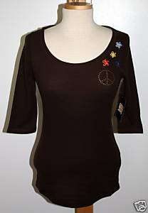 NWT   Lucky Brand Studded Peace & Flower Thermal Shirt