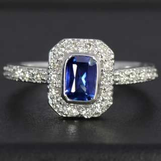 Gold Natural Top Blue Sapphire Diamond Ladies Engagement Ring