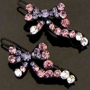 SHIPPING 2 pc Austrian rhinestone crystal bow tie hair clip pin