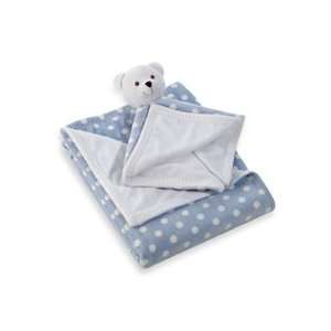 BeanSprout Super Soft Boa Blanket 2pc Blanket Set Bear Blue/White