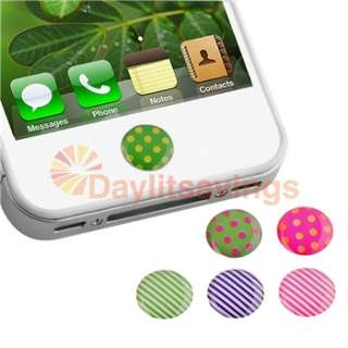 Dots Home Button Sticker+Clear Blue TPU Flower Case for iPod Touch 4