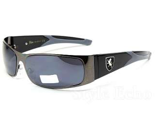 Stylish Colored Temple Khan Mens Metal Shield Designer Sunglasses