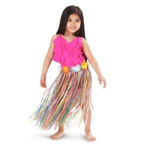 Child Multi color Artificial Grass Hula Skirt with Floral Waistband