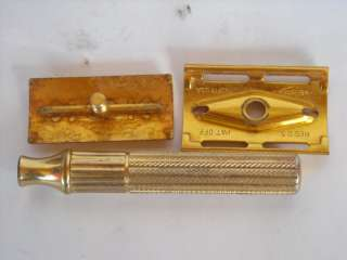 Vintage 1940s Gillette Gold Safety Razor With Case