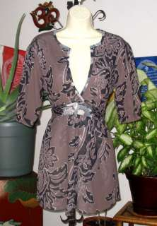 SWEET PEA Brown & Black Floral Print Stretch Mesh Empire Waist Top L