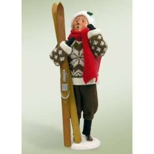 Byers Choice Carolers   Family with Skis and Snowboards