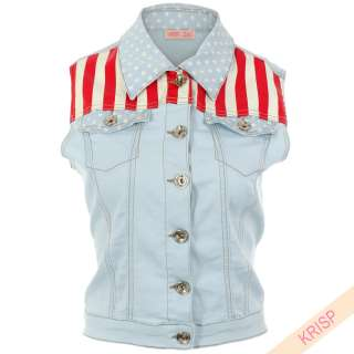Waistcoat Vest Jacket Stars And Stripes American Flag Clubwear