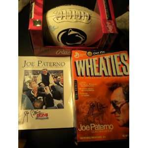 Joe Paterno Joepa Signed Autographed Football and Wheaties