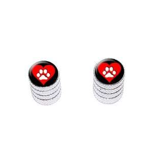 Paw Print Heart   Dog Cat Love   Tire Rim Valve Stem Caps   Motorcycle