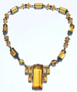 VINTAGE ANTIQUE 1920s ART DECO SIGNED CZECH AMBER GLASS NECKLACE