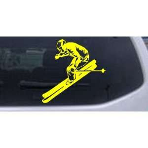 Skier Sports Car Window Wall Laptop Decal Sticker    Yellow 10in X 10
