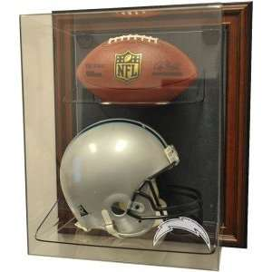San Diego Chargers Helmet and Football Case Up Display
