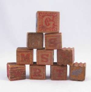 Vintage   Wood Blocks   Childrens Wood Alphabet & Animal Blocks 10