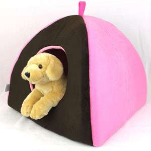 Pet Dog Puppy Cat Soft and Warm Play Pad House Bed Brown/Pink