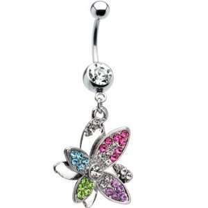 Multi Color Gem Butterfly Dangle Belly Navel Ring Piercing