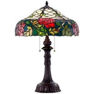 Red Rose Tiffany Art Glass Table Lamp