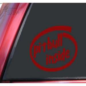 Pit Bull / Pitbull Inside Vinyl Decal Sticker   Dark Red Automotive